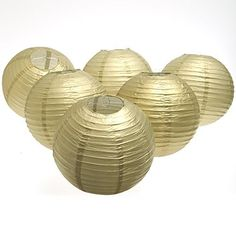 """Fun Express - Gold Lanterns, 12"""" Balloon Lanterns (Includes Wire) (1-Pack of 6) Outdoor Store Great for a 50th anniversary or a masquerade ball these gold balloon lanterns will add some decorating fun to your party. An ideal alternative to traditional balloons, paper lanterns not only look great but also hold their shape. You wouldn't have to worry about inflating these paper lanterns so they'll last for weeks versus balloons that may from time to time only last for…"""