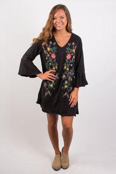 Falling Floral Suede Dress - Black