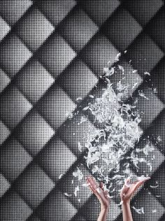 The effect of this wallpaper is simply stunning. The whole wallpaper consists of varying sized dots of flock that come together to create an amazing geometric 3D diamond design. It has a dark silver metallic background which shows up the black flock design perfectly. http://www.wowwallpaperhanging.com.au/black-wallpaper/