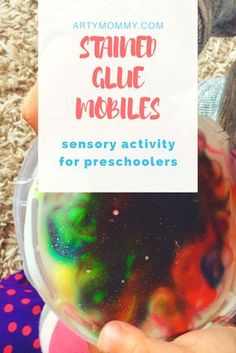 Stained Glue Mobiles – ARTY MOMMY: Gather up your old plastic lids, apply glue, swirl in food coloring and let dry (1-2 days). Peel off and you're set!! Perfect stained glass fine for Kids out of glue!