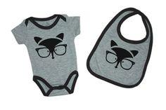 Capitaine Popi Set of Baby Body Suit and Matching Bib - Cute Animals: Urban Fox