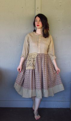 French shabby dress upcycled clothing Romantic Bohemian Tunic country peasant dress up cycled summer frock Prairie cowgirl medium-large