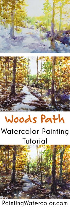 Woods Path Painting Tutorial watercolor painting tutorial by Jennifer Branch