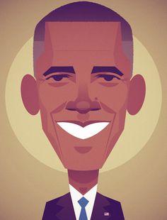 Barack Obama by Stanley Chow // Wired on Behance Vector Portrait, Portrait Art, Portraits, Flat Illustration, Character Illustration, Stanley Chow, Obama Portrait, Avatar, Art Images