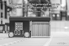 """Progress cannot be generated when we are satisfied with existing situations."" - Taiichi Ohno - Photo by RuurdJellema.com Supply Chain Logistics, When Us, Home Appliances, Canning, Quotes, House Appliances, Quotations, Appliances, Home Canning"