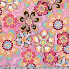 Designed for Michael Miller, the color palette includes sunny yellow, teal blue, chocolate brown, lime green, white and azalea ink on a ballet pink background. Use this fabric collection to create a unique quilt or quilting project.