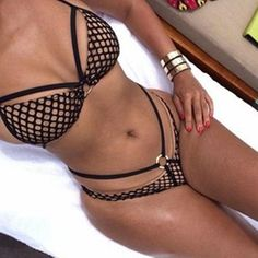 - Item Type: Bikinis Set - Pattern Type: Solid - Waist: Mid Waist - Material: Polyester,Spandex - Support Type: Wire Free - With Pad: Yes - Colors: Black, White - Sizes: S - Size 4 -6 M - Size 8 -10 L
