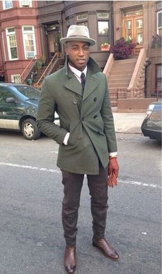 Love this androgynous dapper look...the gloves are almost brown, but the red tone pops with a neutral outfit.