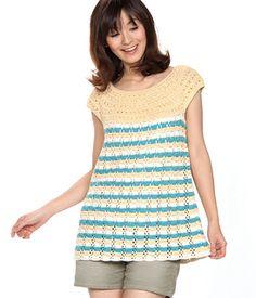 Mjuk Cotton Striped Tunic - free crochet pattern  by Pierrot (Gosyo Co., Ltd). Pattern is charted Japanese, using standard crochet symbols.