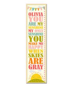Another great find on #zulily! Pink 'You Are My Sunshine' Personalized Growth Chart by Finny and Zook #zulilyfinds