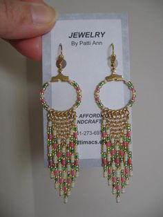 Seed Bead Hoop Chain Earrings  Pink/Green/Cream by pattimacs, $20.00