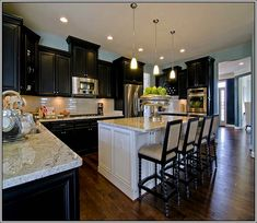 Marvelous Espresso Kitchen Cabinets With White Island