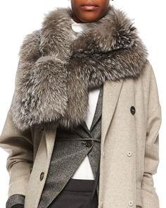 W06TP Brunello Cucinelli Monili-Beaded Silver Fox Fur Wrap Scarf