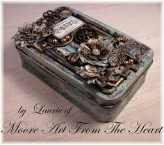 """I love finding new way to decorate these little metal tins. This time I took a 3 1/2"""" x 5 1/2"""" two piece metal tin and created a patina a..."""
