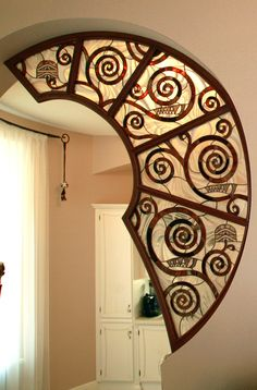 Stained glass partition inspired by G. Stained Glass Designs, Stained Glass Projects, Stained Glass Art, Mosaic Glass, Partition Design, Glass Partition, Decoration, Planer, Furniture Design