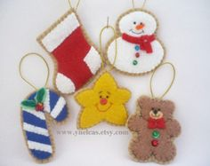 Ginger Felt Christmas Ornaments Felt by GingerSweetCrafts on Etsy