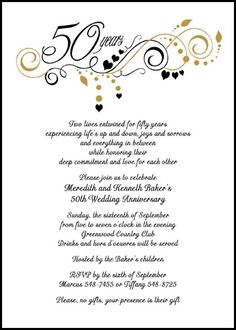 Find lots of discounts on golden flourish party wedding anniversary invitations presently reduced to 99 Each with anniversary wording samples Anniversary Words, 50th Wedding Anniversary Invitations, Golden Wedding Anniversary, Anniversary Parties, Anniversary Ideas, Wedding Aniversary, Wedding Invitation, Free Printable Anniversary Cards, Invitation Wording