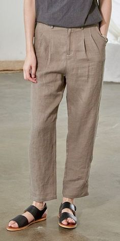 Women Pure Color Linen Casual Pants Summer Loose Trousers V1821 Mens Linen Outfits, Best Work Pants, Black Linen Pants, Type Of Pants, Trends, Outfit Combinations, Grey Fashion, Casual Pants, Trousers