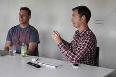Fresh Tilled Soil co-founders, Richard Banfield and Alex Fedorov, meet with a client.