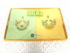 Vintage Handkerchief - Embroidered Handkerchief - Swiss Handkerchiefs - Flower Handkerchiefs - Swiss Embroidery - Retro Handkerchiefs by MissieMooVintageRoom on Etsy