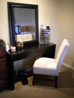 makeup storage for bedroom. i would LOVE a chair like that to go with my vanity!