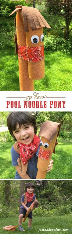 "I'm always on the hunt for unique, inexpensive play/gift ideas and this Pool Noodle Pony is just too cute not to share. Also, it's ""Sawyer Approved""! Cowboy Theme, Cowboy Party, Western Theme, Cowboy Birthday, Birthday Diy, Birthday Parties, Pool Noodle Horse, Diy For Kids, Crafts For Kids"