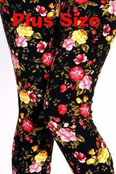 a023808dd22 Women s Plus Size Spring Slimming Floral Print Leggings