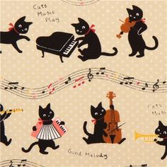 beige oxford cats music instruments fabric Cosmo Japan: