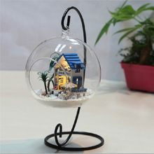 1pcs Creative Iron Wedding Candle Holder Candlestick Glass Ball Lantern Hanging Stand Home Party Festival Decoration(China (Mainland))