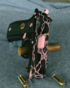 Cerakote - Cerakoted Graphite Black With Bright Pink Pretty Knives, Pink Guns, Armas Ninja, Best Concealed Carry, Custom Guns, Cool Guns, Bright Pink, Just In Case, Weapons