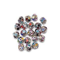 51 Glitter Beads Rhinestone Pearl effect 8 mm red green dark green olive light blue Beige 1
