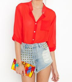 Red blouse and high waisted studded shorts