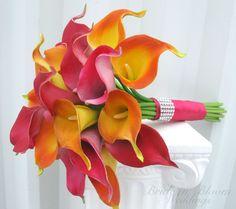 Calla lily Wedding bouquet hot pink orange by BrideinBloomWeddings