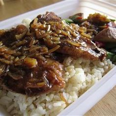 Cola Onion Pork Chops- 3 boneless pork chops, can of coca-cola, dry onion soup packet. Preheat oven to 350 degrees. Place pork chops in shallow glass baking dish & pour the cola over them, then sprinkle with onion soup mix. Bake uncovered for 30 minutes. Turn over & continue baking another 30 minutes, until sauce is thickened