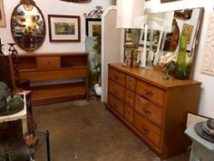 mid century solid oak dresser mirror headboard footboard rails and slats sumter cabinet