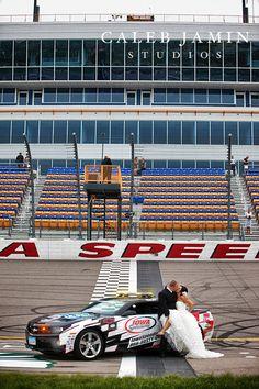 Wedding Day - Iowa Speedway - Race Fans - Nascar - Bride and Groom - Nascar Wedding - Race car wedding