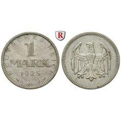 Weimarer Republik, 1 Mark 1925, A, ss, J. 311: 1 Mark 1925 A. J. 311; sehr schön 20,00€ #coins