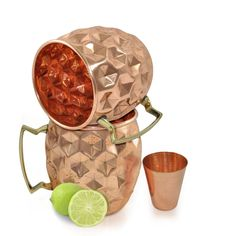 Amazon.com | Set of 2, Dungri India ®Solid Copper Mugs with 1 Copper Shot Glass -Copper Moscow Mule Mug - Diamond Hammer Barrel Cups - Cocktail Cups/Glasses: Beer Mugs & Steins