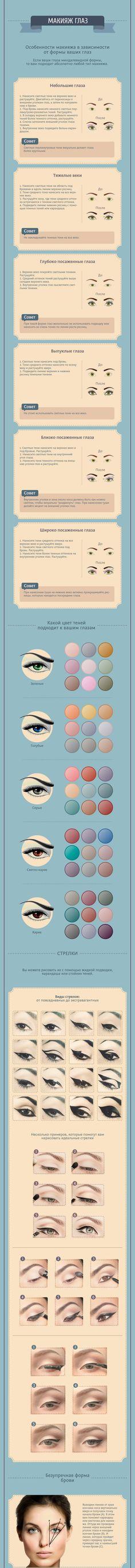 Любите ли вы простоту? В этой инфограмме собрана вся информация о том, как самой сделать макияж, буквально на любой случай жизни. Что ...