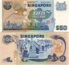 Singapore  50 Dollars (1976) (shama, school band)