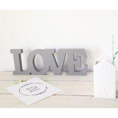 Love letras decorativas gris