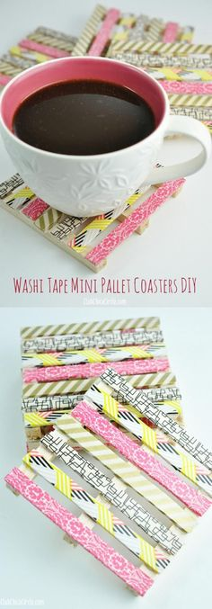 Cool diy ideas including this coaster made from washi tape and craft sticks!