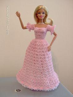 Crocheted Barbie Long Dress in Pink with White Underskirt   VelleMere - Crochet on ArtFire