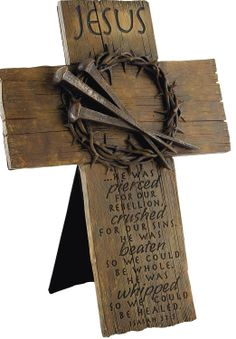 ÷Jesus Crown of Thorns with Nails Cross makes a great Lenten and Easter decoration for your home or office. Wooden Crosses, Wall Crosses, Decorative Crosses, Crosses Decor, Christian Crafts, Christian Art, Wood Projects, Woodworking Projects, La Madone