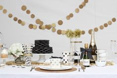 Black & White Birthday Party featured on Style Me Pretty Living Today — Lisa Ho Studio Gold Birthday Party, Nye Party, Festa Party, Gold Party, Birthday Party Decorations, Birthday Celebration, Party Time, Birthday Parties, 75th Birthday