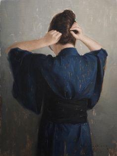 Aaron Westerberg, The Blue Kimono Blue Kimono, Woman Back, Portrait Art, Portraits, Woman Painting, American Artists, Female Art, Hair Pins, Marie