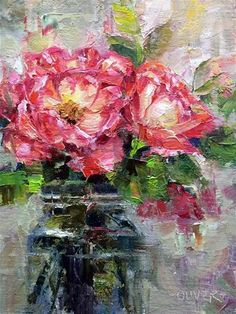 "Daily Paintworks - ""Roses From A Friend"" - Original Fine Art for Sale - © Julie Ford Oliver Art Painting Gallery, Fine Art Gallery, Rose Oil Painting, Abstract Flowers, Original Paintings, Art Paintings, Flower Paintings, Original Artwork, Artist Art"
