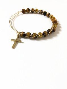 Tiger's Eye Wire Bracelet Religious Bracelet Tiger's Eye Beaded Bracelet Gold Cross Expandable Stacking Wire Bangle Bracelet (MBX135) by JulemiJewelry on Etsy