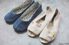 청바지리폼(도안) 덧신만들기,패브릭DIY : 네이버 블로그 Dear Jane Quilt, Fabric Shoes, Diy And Crafts, Slippers, Couture, Sewing, Sneakers, Bags, Repurpose