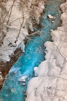 Snow - The Blue River, Biei, Hokkaido, Japan